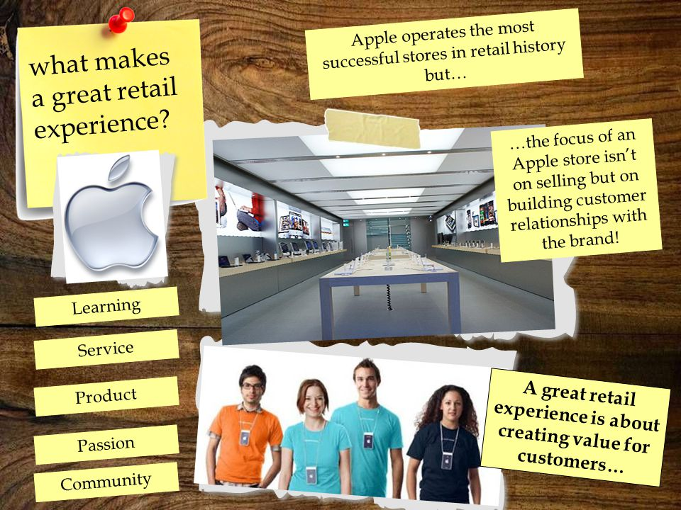 what makes a great retail experience? …the focus of an Apple store isn't on selling but on building customer relationships with the brand! Learning Pa