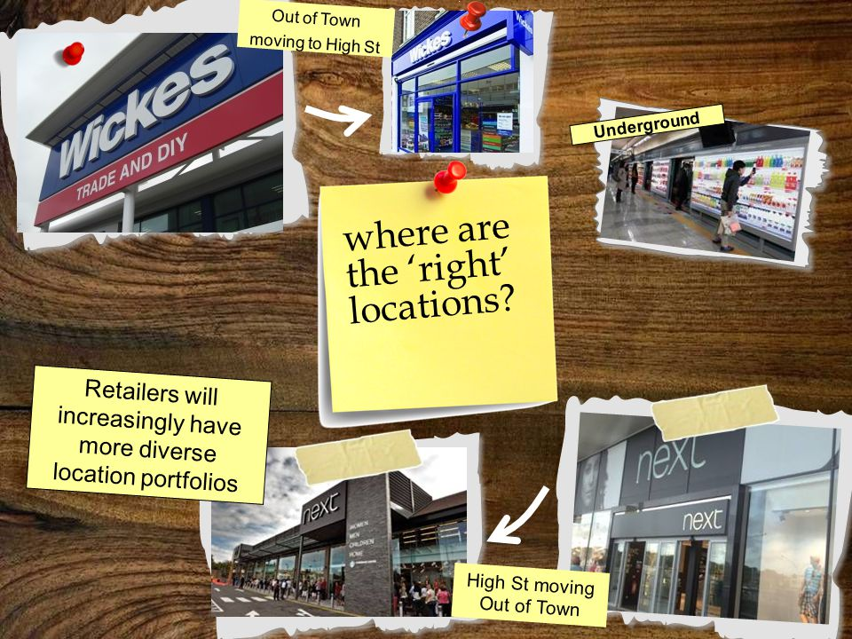 where are the 'right' locations? Out of Town moving to High St High St moving Out of Town Retailers will increasingly have more diverse location portf