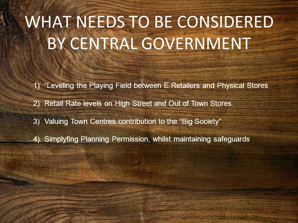 """WHAT NEEDS TO BE CONSIDERED BY CENTRAL GOVERNMENT 1)""""Leveling the Playing Field between E Retailers and Physical Stores 2)Retail Rate levels on High S"""