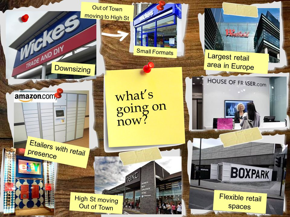 what's going on now? Downsizing Small Formats Largest retail area in Europe Flexible retail spaces Etailers with retail presence High St moving Out of