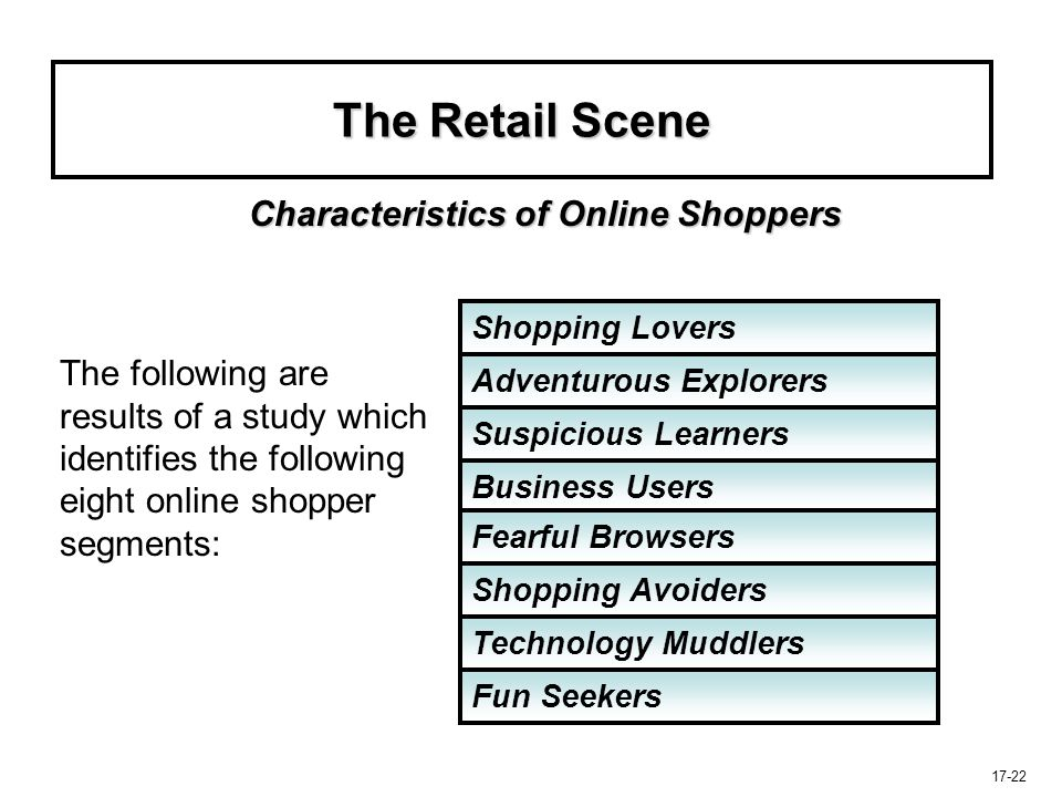 17-22 The Retail Scene The following are results of a study which identifies the following eight online shopper segments: Characteristics of Online Sh