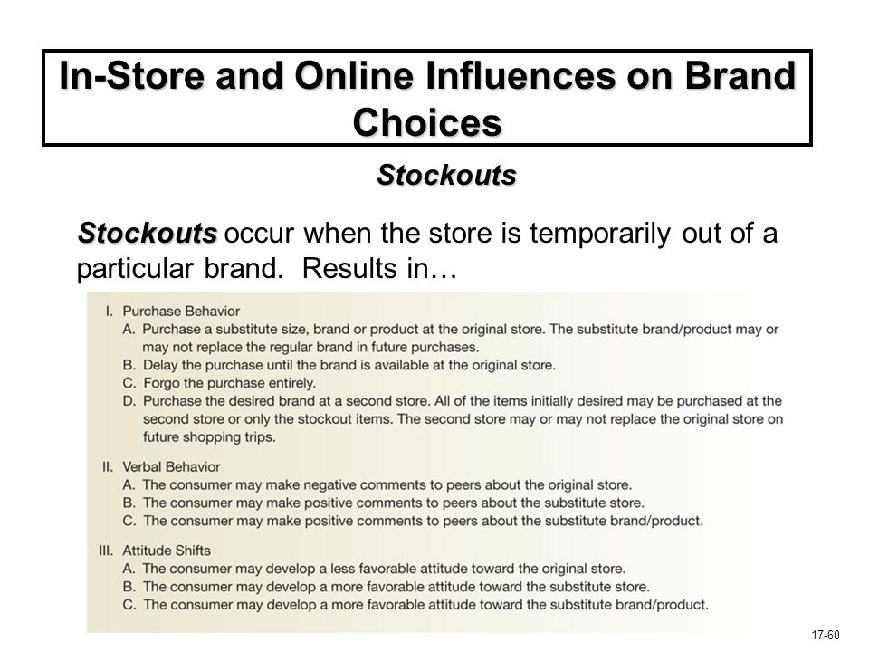17-60 In-Store and Online Influences on Brand Choices Stockouts Stockouts occur when the store is temporarily out of a particular brand. Results in… S