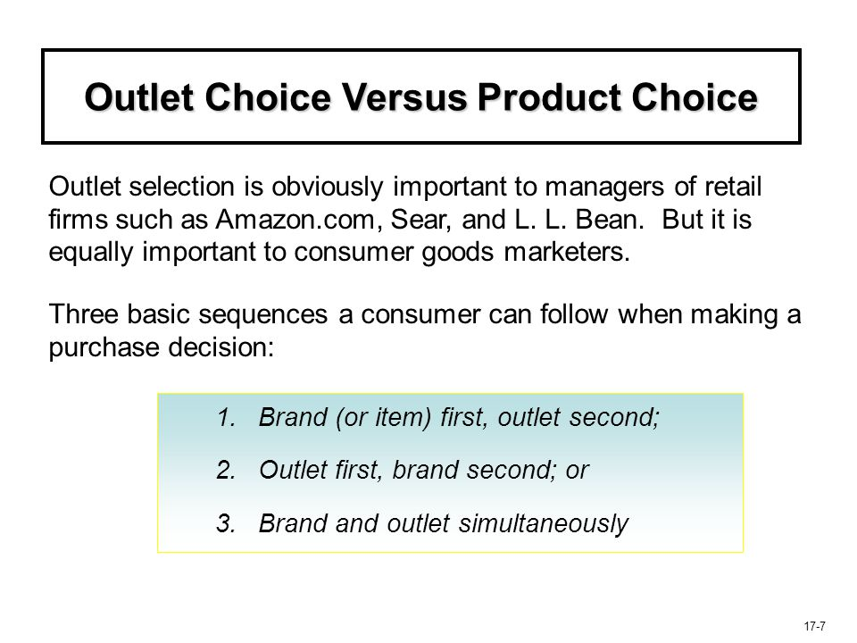 17-8 Outlet Choice Versus Product Choice