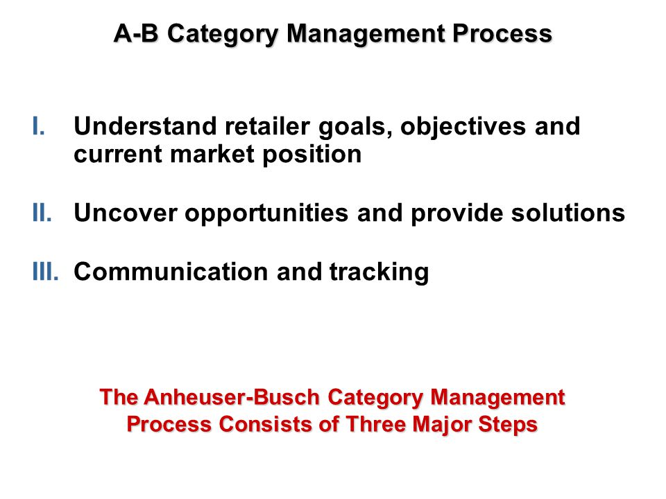 Scorecard / Measure Results Uncover Opportunities/Provide Solutions Assortment/Space Assessment & Solutions Promotion Assessment & Solutions Behind eachprocess step, arethe traditionalindustry BestPractices, alongwith modificationsdesigned to meetspecific needs ofthe Beer Category.