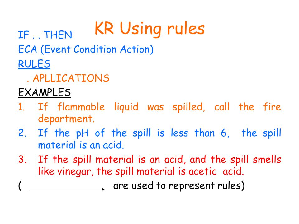 KR Using rules IF.. THEN ECA (Event Condition Action) RULES.