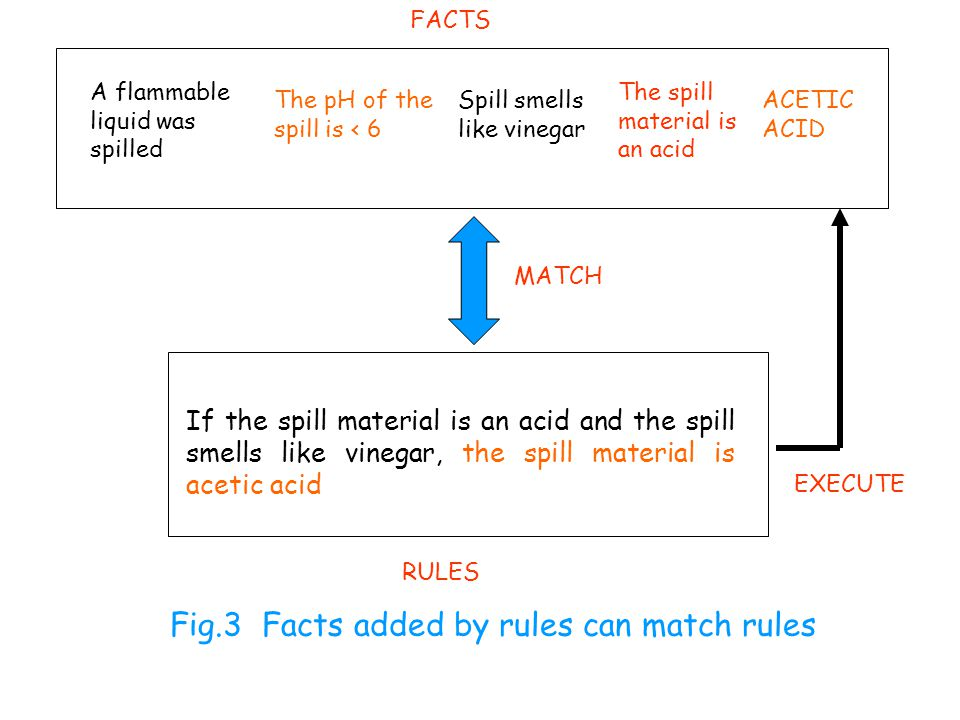 FACTS A flammable liquid was spilled The pH of the spill is < 6 Spill smells like vinegar The spill material is an acid ACETIC ACID MATCH EXECUTE If the spill material is an acid and the spill smells like vinegar, the spill material is acetic acid RULES Fig.3 Facts added by rules can match rules
