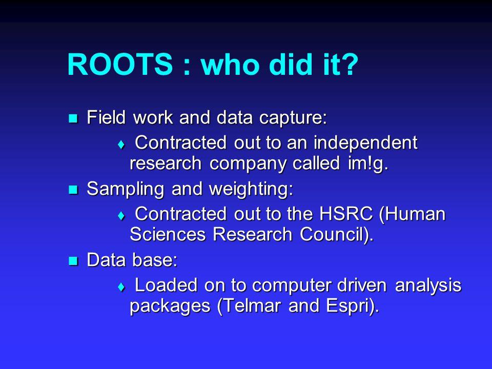 ROOTS : How was it done.Sampling: Sampling:  Footprint map.