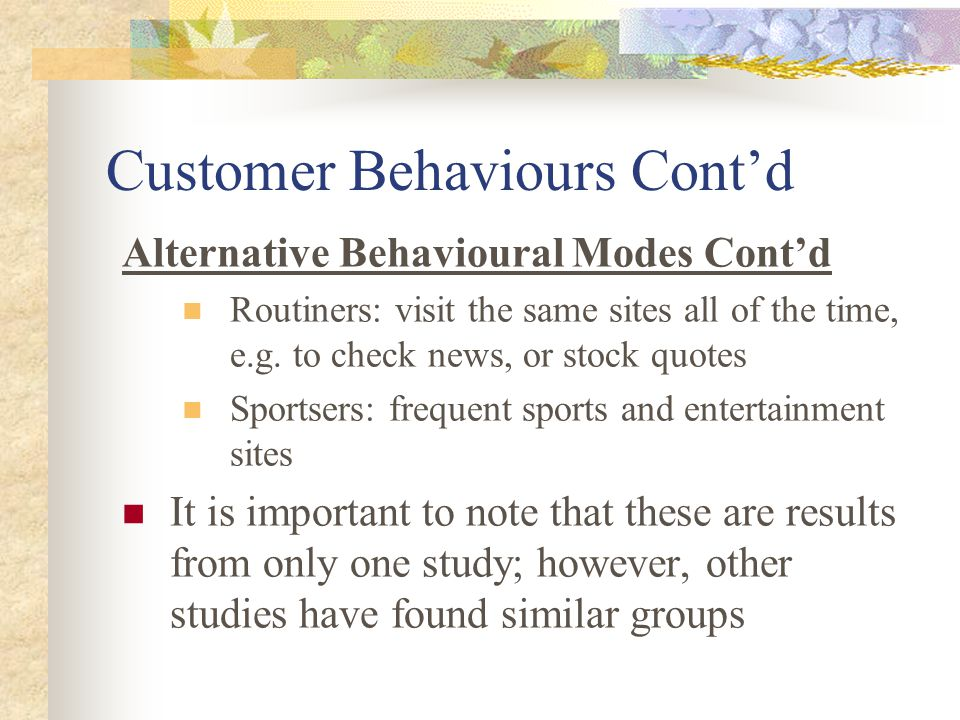 Customer Behaviours Cont'd Alternative Behavioural Modes Cont'd Routiners: visit the same sites all of the time, e.g.