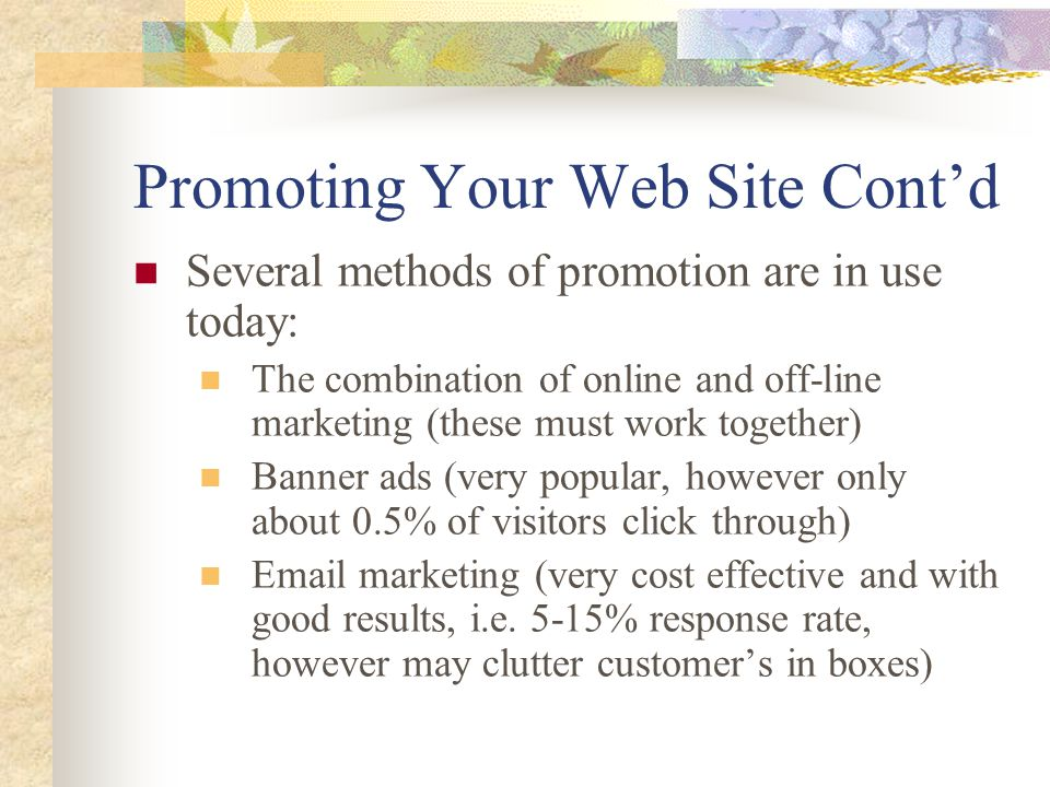 Promoting Your Web Site Cont'd Several methods of promotion are in use today: The combination of online and off-line marketing (these must work together) Banner ads (very popular, however only about 0.5% of visitors click through) Email marketing (very cost effective and with good results, i.e.