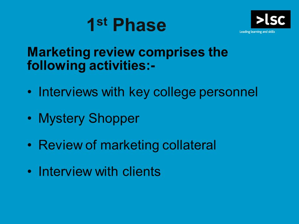 1 st Phase Marketing review comprises the following activities:- Interviews with key college personnel Mystery Shopper Review of marketing collateral Interview with clients