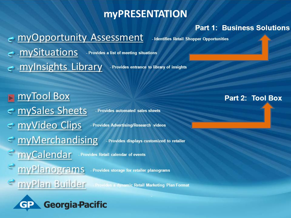 myOpportunity Assessment mySituations myInsights Library myTool Box mySales Sheets myVideo Clips myMerchandising myCalendar myPlanograms myPlan Builde