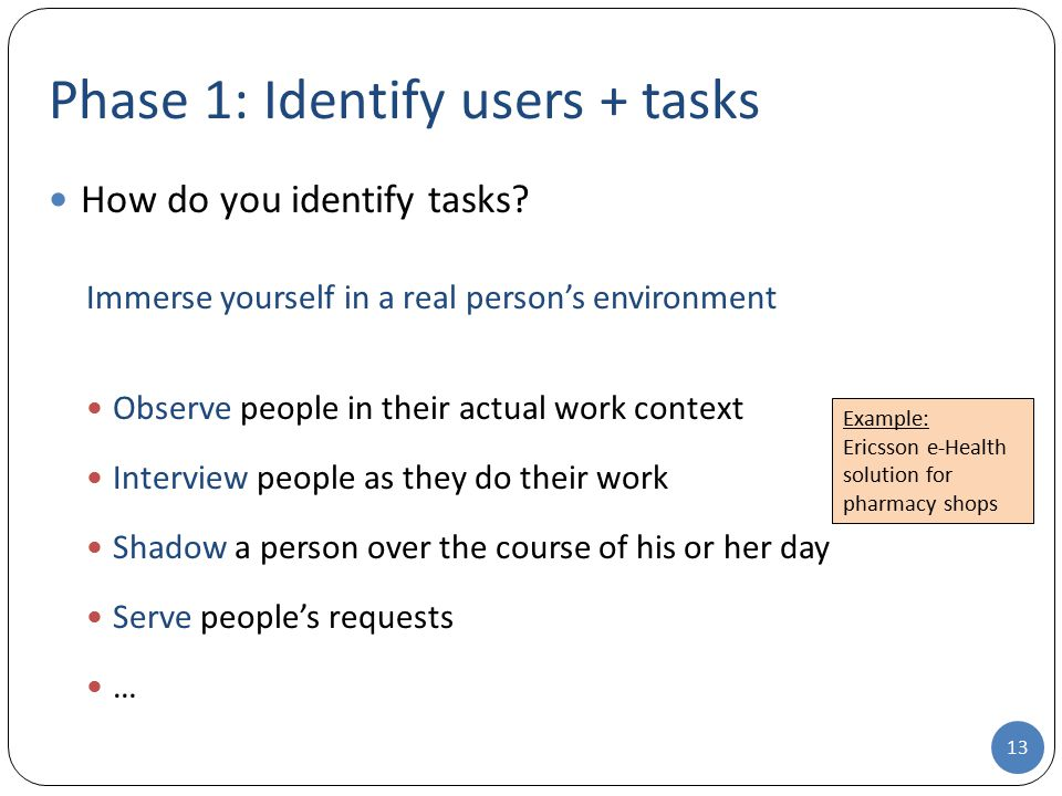 Phase 1: Identify users + tasks How do you identify tasks.