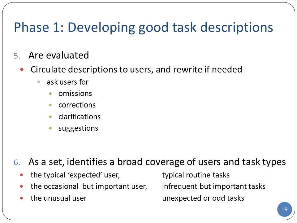 Phase 1: Developing good task descriptions 5. Are evaluated Circulate descriptions to users, and rewrite if needed ask users for omissions corrections