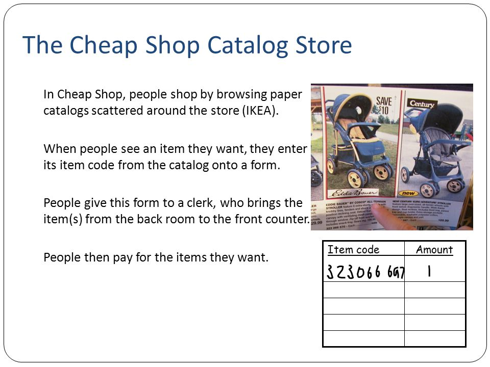 The Cheap Shop Catalog Store In Cheap Shop, people shop by browsing paper catalogs scattered around the store (IKEA). When people see an item they wan
