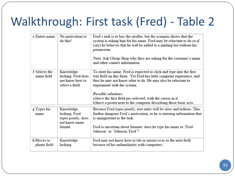 Walkthrough: First task (Fred) - Table 2 39
