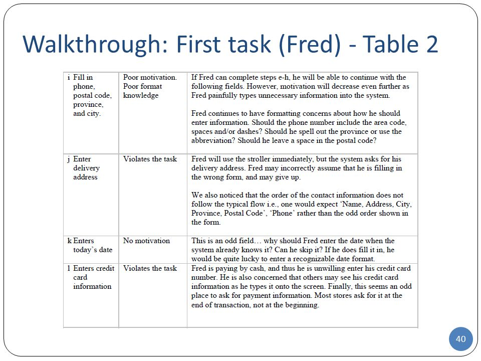 Walkthrough: First task (Fred) - Table 2 40