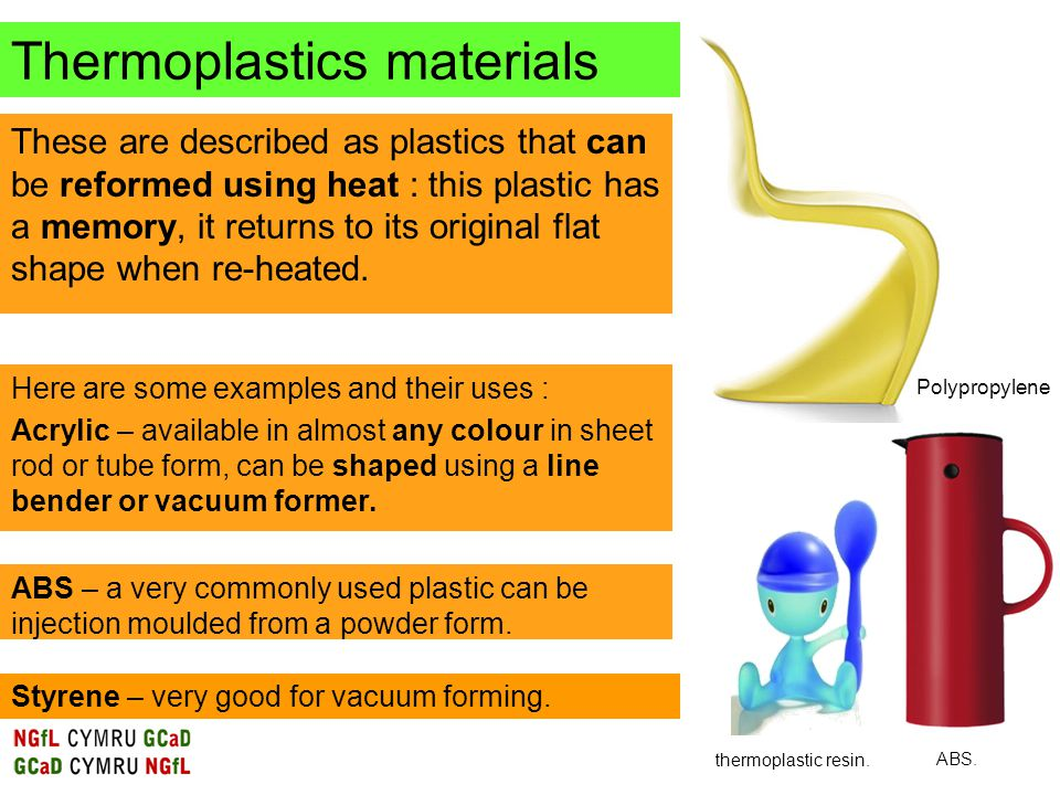These are described as plastics that can be reformed using heat : this plastic has a memory, it returns to its original flat shape when re-heated.