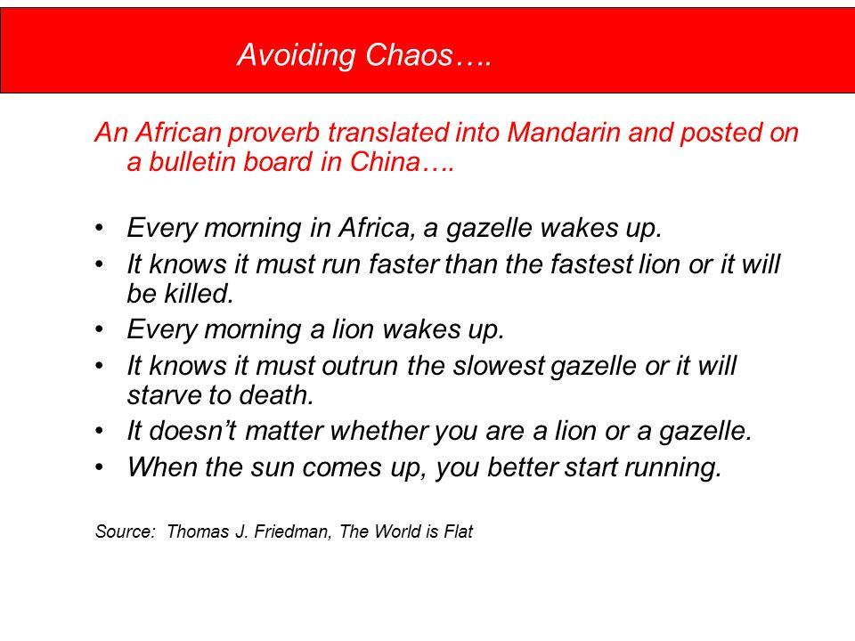Avoiding Chaos….