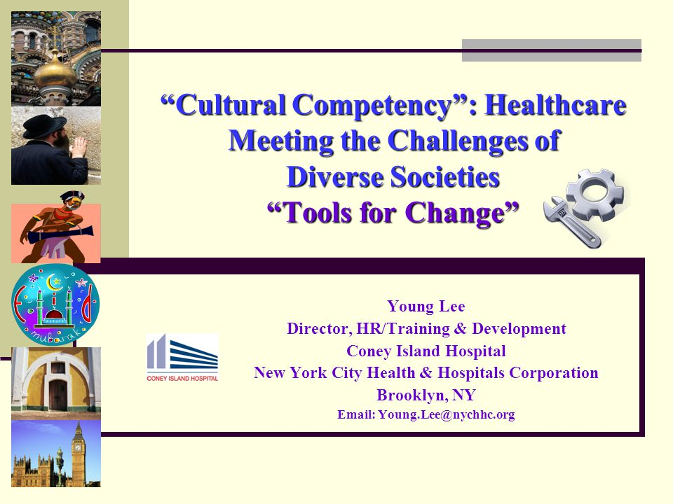 Cultural Competency : Healthcare Meeting the Challenges of Diverse Societies Tools for Change Young Lee Director, HR/Training & Development Coney Island Hospital New York City Health & Hospitals Corporation Brooklyn, NY Email: Young.Lee@nychhc.org