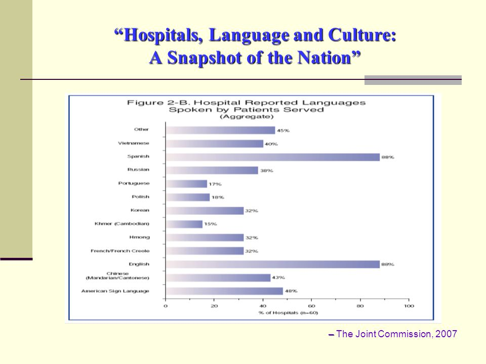 Hospitals, Language and Culture: A Snapshot of the Nation – – The Joint Commission, 2007