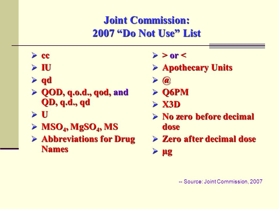 Joint Commission: 2007 Do Not Use List  cc  IU  qd  QOD, q.o.d., qod, and QD, q.d., qd  U  MSO 4, MgSO 4, MS  Abbreviations for Drug Names  > or or <  Apothecary Units  @  Q6PM  X3D  No zero before decimal dose  Zero after decimal dose  µg -- Source: Joint Commission, 2007