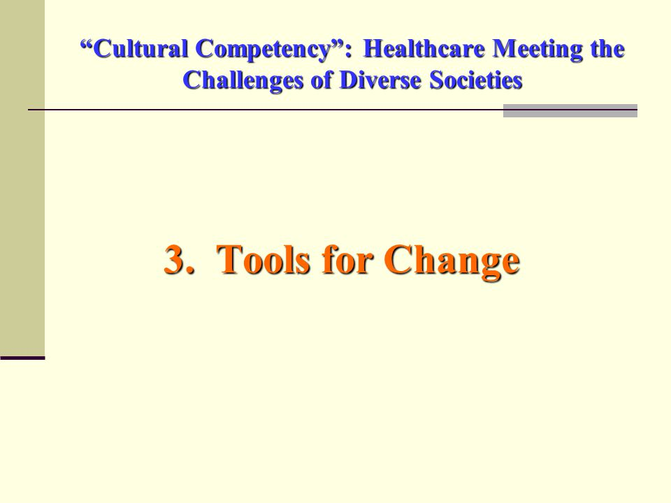Cultural Competency : Healthcare Meeting the Challenges of Diverse Societies 3. Tools for Change