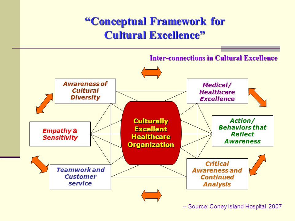 Conceptual Framework for Cultural Excellence Inter-connections in Cultural Excellence Awareness of Cultural Diversity Action/ Behaviors that Reflect Awareness Teamwork and Customer service Medical/ Healthcare Excellence Empathy & Sensitivity Critical Awareness and Continued Analysis Culturally Excellent Healthcare Organization -- Source: Coney Island Hospital, 2007