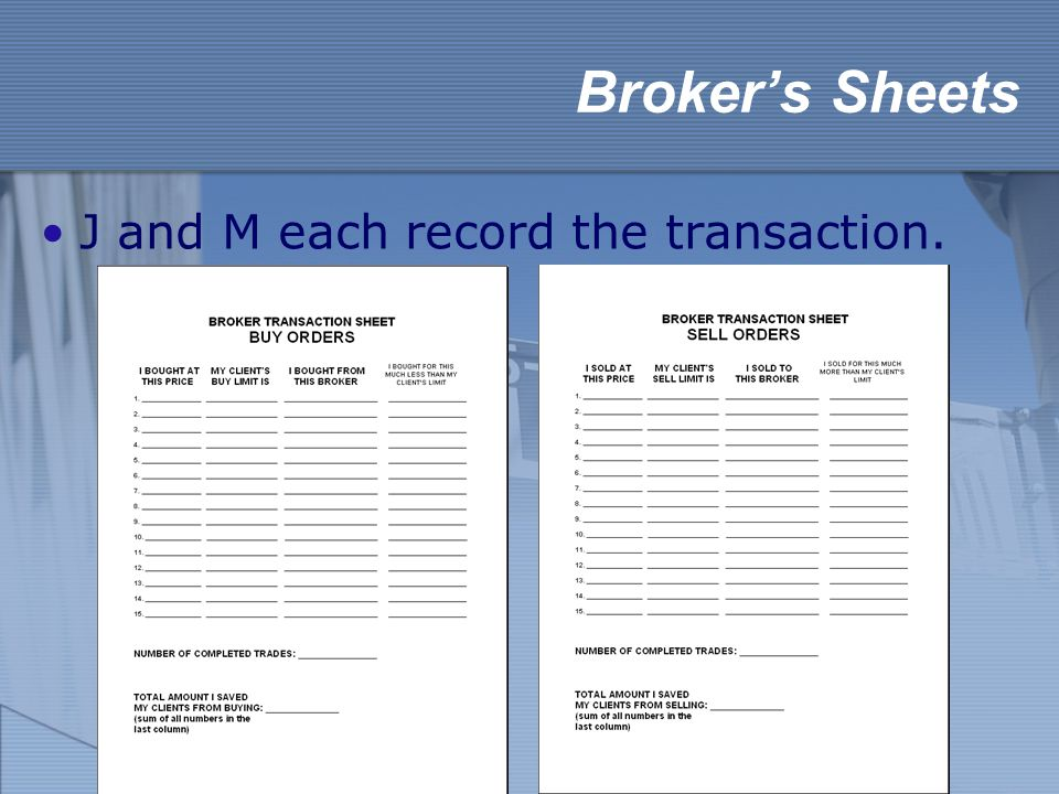 Broker's Sheets J and M each record the transaction.