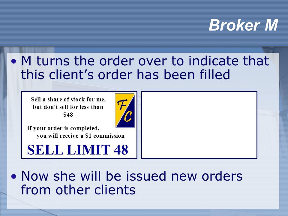 M turns the order over to indicate that this client's order has been filled Now she will be issued new orders from other clients Broker M Limit Order