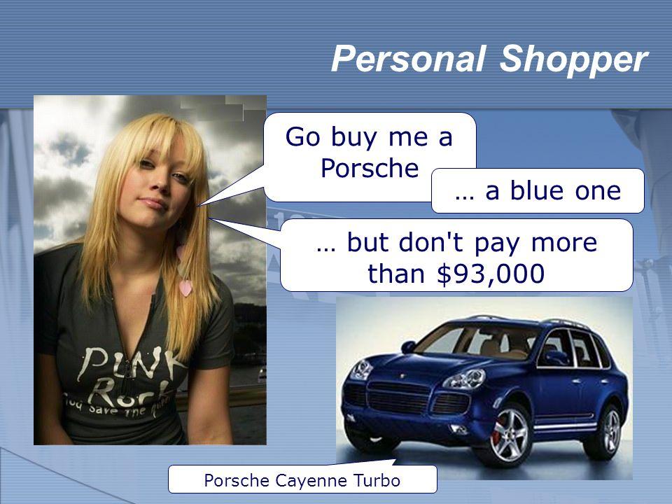 Personal Shopper Go buy me a Porsche Porsche Cayenne Turbo … a blue one … but don't pay more than $93,000