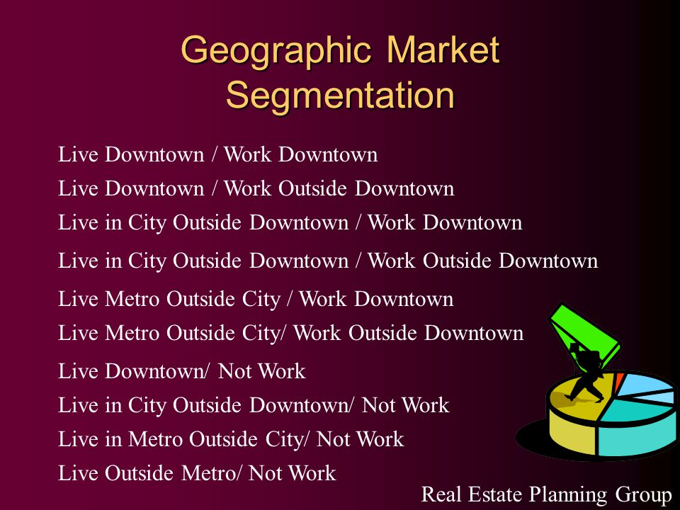 Geographic Market Segmentation Live Downtown / Work Downtown Live Downtown / Work Outside Downtown Live in City Outside Downtown / Work Downtown Live in City Outside Downtown / Work Outside Downtown Live Metro Outside City / Work Downtown Live Metro Outside City/ Work Outside Downtown Live Downtown/ Not Work Live in City Outside Downtown/ Not Work Live in Metro Outside City/ Not Work Live Outside Metro/ Not Work Real Estate Planning Group