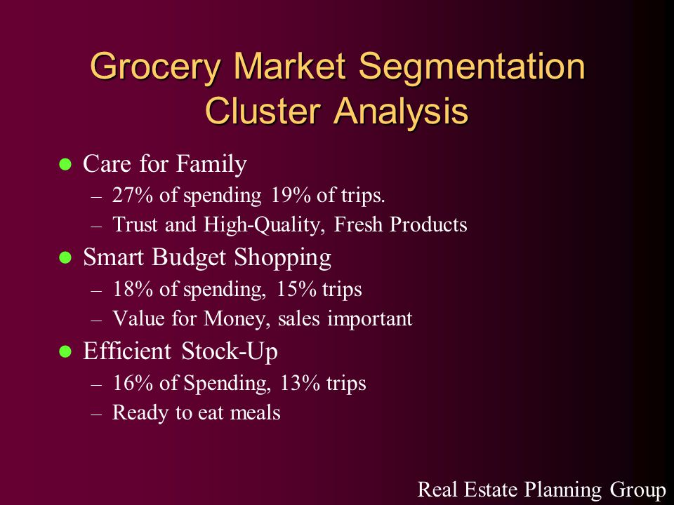 Grocery Market Segmentation Cluster Analysis Care for Family – 27% of spending 19% of trips.