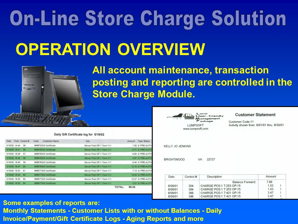 OPERATION OVERVIEW All account maintenance, transaction posting and reporting are controlled in the Store Charge Module.