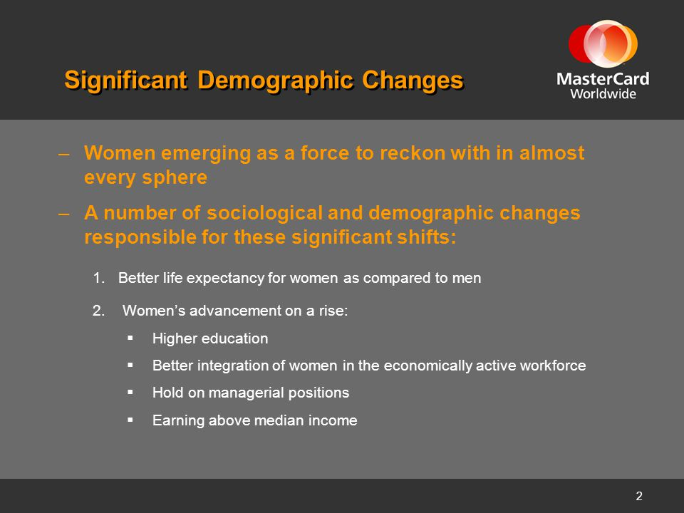 2 Significant Demographic Changes –Women emerging as a force to reckon with in almost every sphere –A number of sociological and demographic changes r