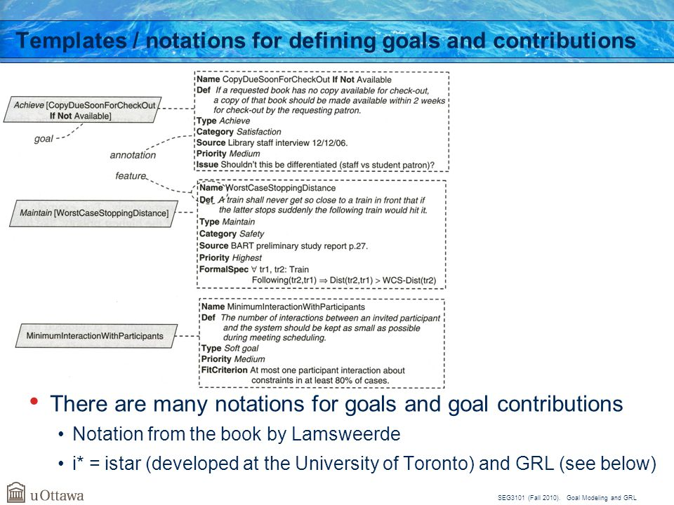 SEG3101 (Fall 2010). Goal Modeling and GRL Templates / notations for defining goals and contributions There are many notations for goals and goal cont