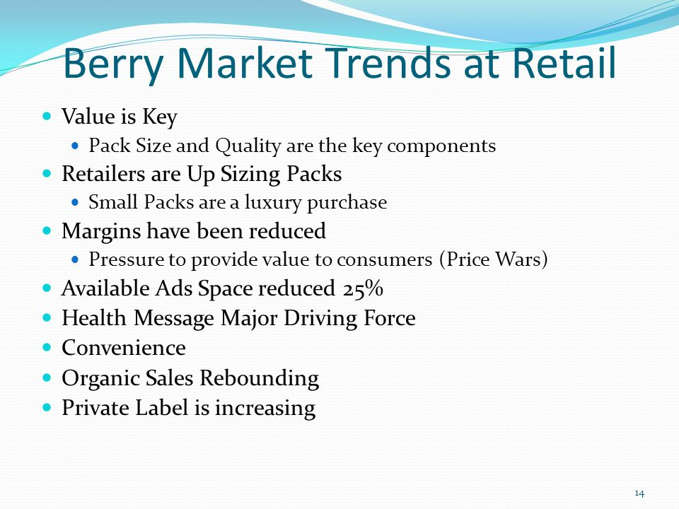 Berry Market Trends at Retail Value is Key Pack Size and Quality are the key components Retailers are Up Sizing Packs Small Packs are a luxury purchas