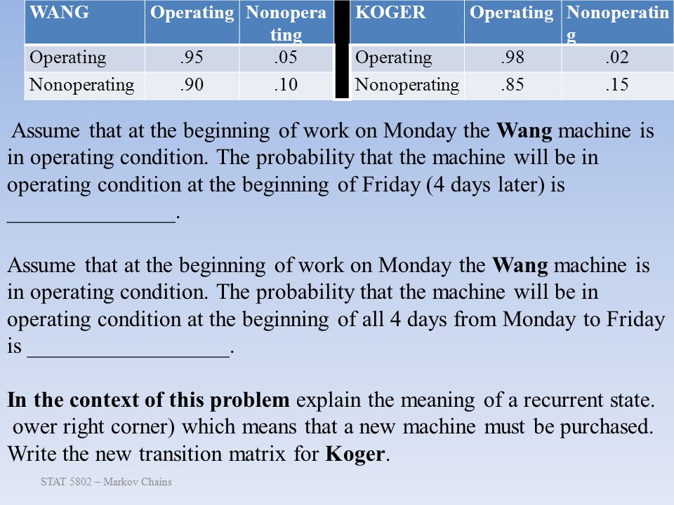 STAT 5802 – Markov Chains Assume that at the beginning of work on Monday the Wang machine is in operating condition.