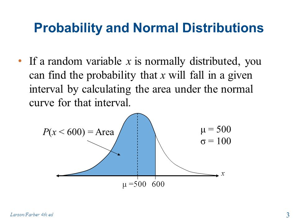 Probability and Normal Distributions If a random variable x is normally distributed, you can find the probability that x will fall in a given interval