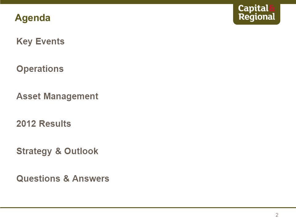 Agenda Key Events Operations Asset Management 2012 Results Strategy & Outlook Questions & Answers 2