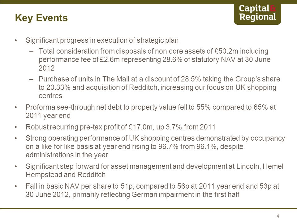Significant progress in execution of strategic plan –Total consideration from disposals of non core assets of £50.2m including performance fee of £2.6m representing 28.6% of statutory NAV at 30 June 2012 –Purchase of units in The Mall at a discount of 28.5% taking the Group's share to 20.33% and acquisition of Redditch, increasing our focus on UK shopping centres Proforma see-through net debt to property value fell to 55% compared to 65% at 2011 year end Robust recurring pre-tax profit of £17.0m, up 3.7% from 2011 Strong operating performance of UK shopping centres demonstrated by occupancy on a like for like basis at year end rising to 96.7% from 96.1%, despite administrations in the year Significant step forward for asset management and development at Lincoln, Hemel Hempstead and Redditch Fall in basic NAV per share to 51p, compared to 56p at 2011 year end and 53p at 30 June 2012, primarily reflecting German impairment in the first half 4
