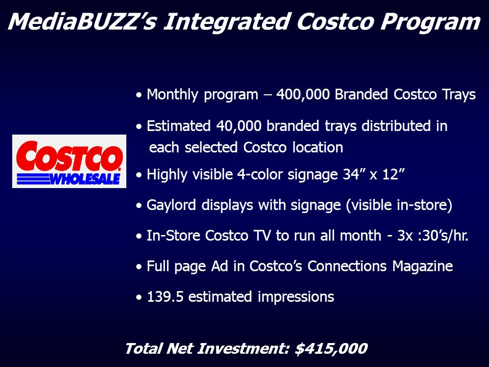 Monthly program – 400,000 Branded Costco Trays Estimated 40,000 branded trays distributed in each selected Costco location Highly visible 4-color sign