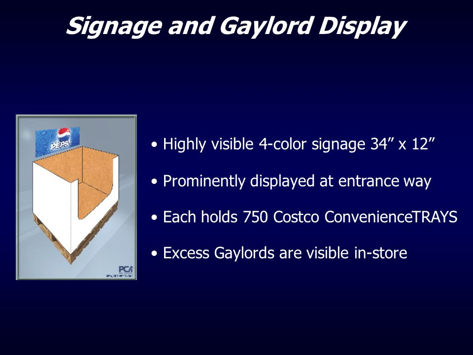 """Highly visible 4-color signage 34"""" x 12"""" Prominently displayed at entrance way Each holds 750 Costco ConvenienceTRAYS Excess Gaylords are visible in-s"""