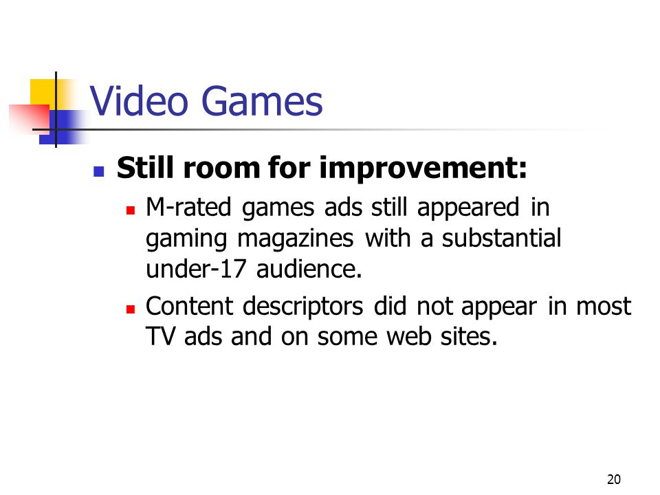 20 Video Games Still room for improvement: M-rated games ads still appeared in gaming magazines with a substantial under-17 audience.