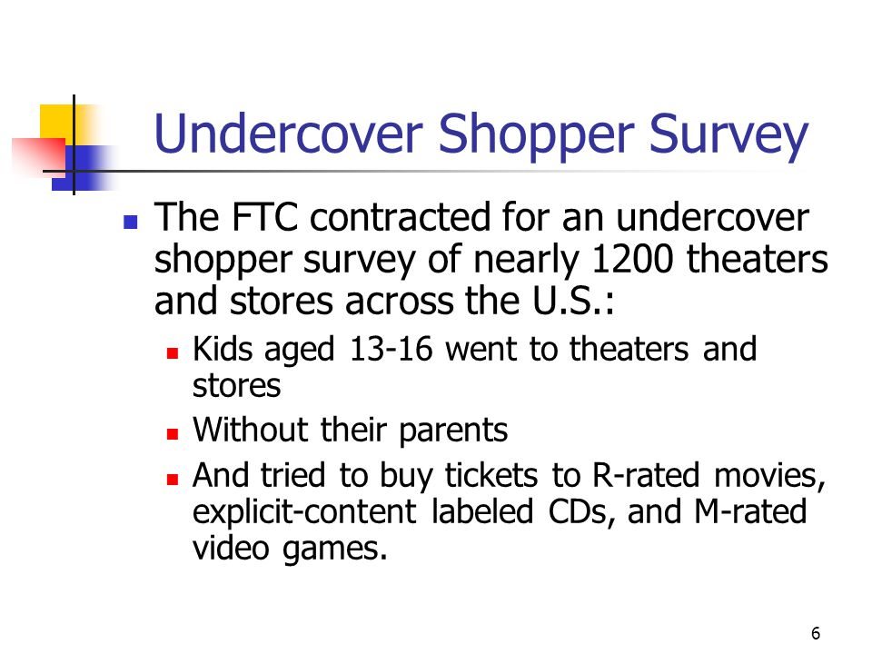 6 Undercover Shopper Survey The FTC contracted for an undercover shopper survey of nearly 1200 theaters and stores across the U.S.: Kids aged 13-16 went to theaters and stores Without their parents And tried to buy tickets to R-rated movies, explicit-content labeled CDs, and M-rated video games.