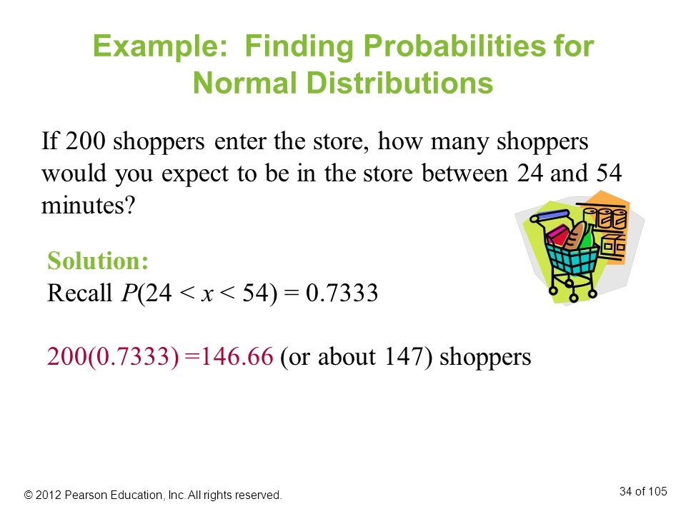 Example: Finding Probabilities for Normal Distributions If 200 shoppers enter the store, how many shoppers would you expect to be in the store between 24 and 54 minutes.