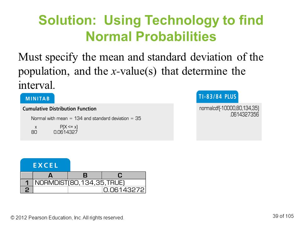 Solution: Using Technology to find Normal Probabilities Must specify the mean and standard deviation of the population, and the x-value(s) that determine the interval.