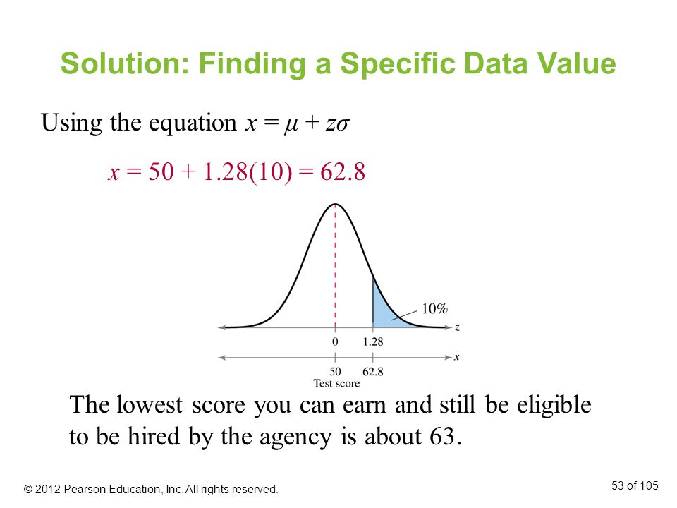 Solution: Finding a Specific Data Value Using the equation x = μ + zσ x = 50 + 1.28(10) = 62.8 The lowest score you can earn and still be eligible to be hired by the agency is about 63.