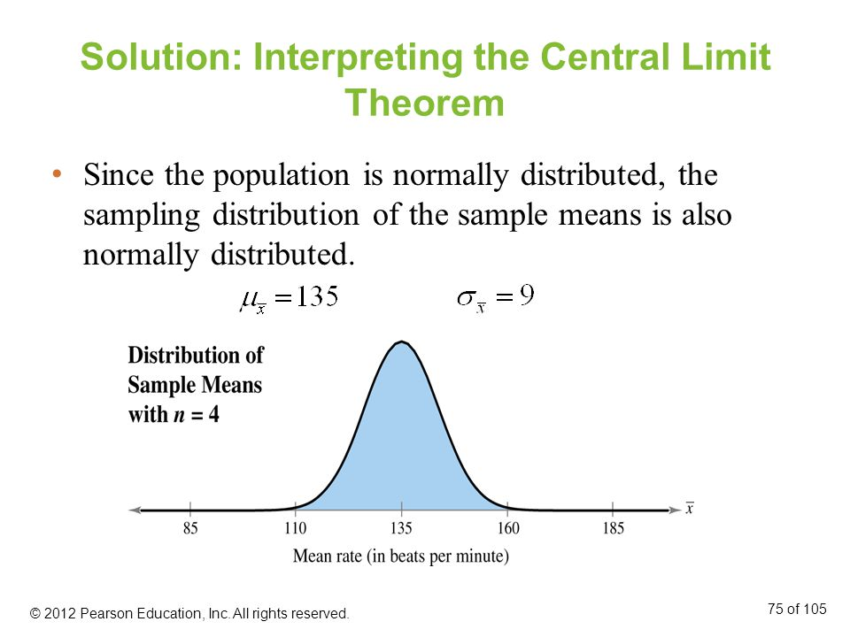 Solution: Interpreting the Central Limit Theorem Since the population is normally distributed, the sampling distribution of the sample means is also normally distributed.