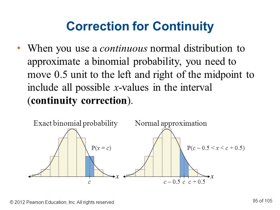 Correction for Continuity When you use a continuous normal distribution to approximate a binomial probability, you need to move 0.5 unit to the left and right of the midpoint to include all possible x-values in the interval (continuity correction).