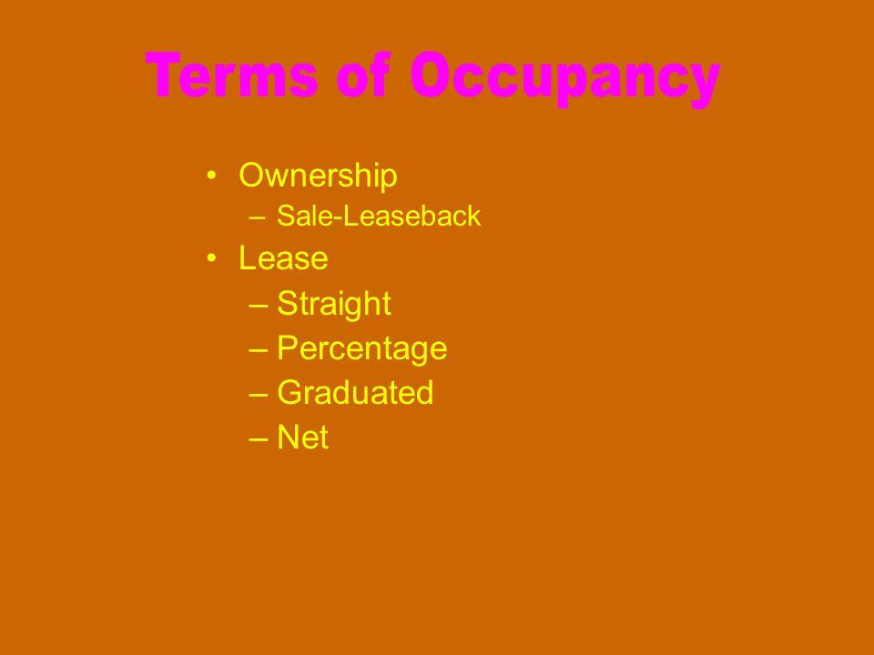Ownership –Sale-Leaseback Lease –Straight –Percentage –Graduated –Net
